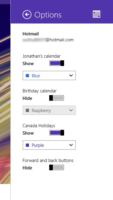 Windows 8.1 Calendar Settings