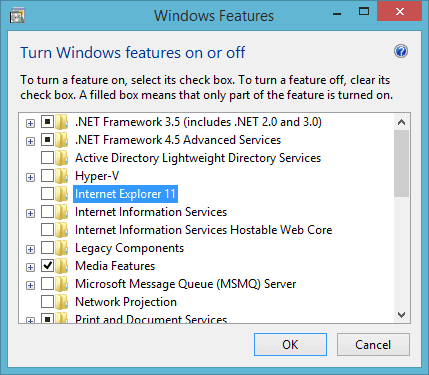 Windows Features - Internet Explorer