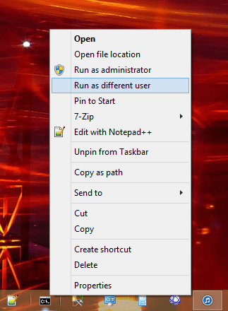 Launch Command Prompt as different user in Windows 8.1