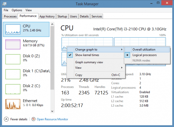 Task Manager - CPU graph mode