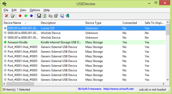 NirSoft - USBDeview