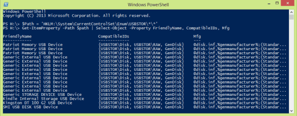 PowerShell - list usb drives