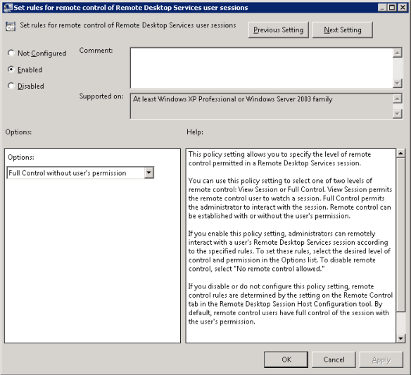 RDP - Group Policy for Set rules for remote control of rd services user sessions