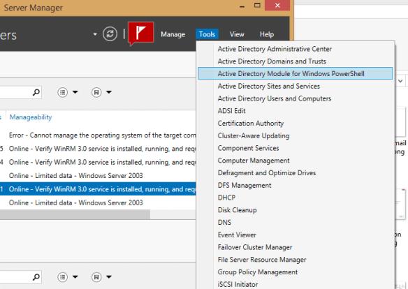 Server Manager Tools Menu