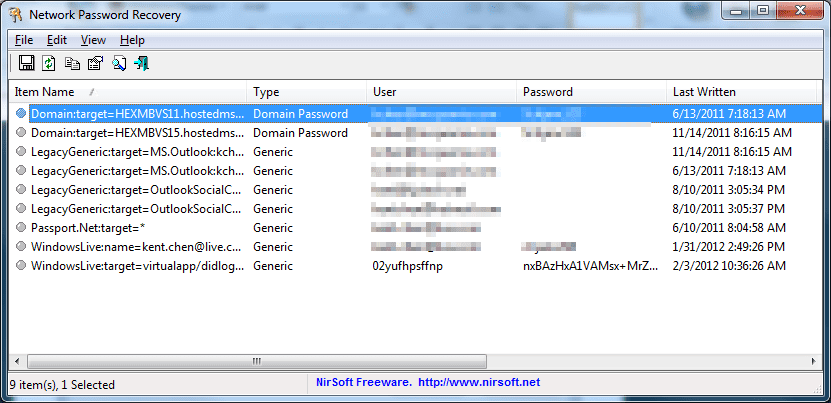 Using Network Password Recovery to Recover Windows Stored