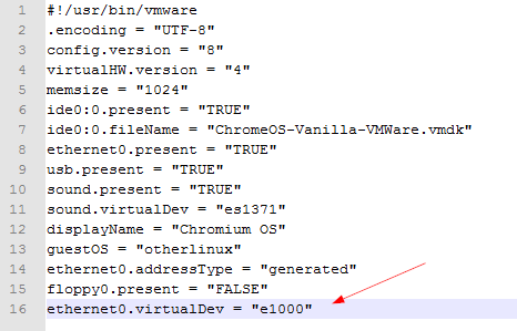 Add a line in vmx file