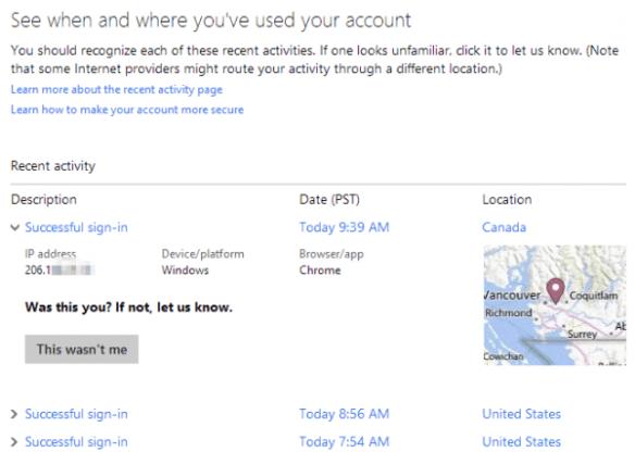 Microsoft account - recent activites detail