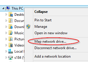This PC - Map Network Drive