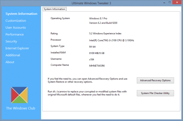 Ultimate Windows Tweaker 3 - system info