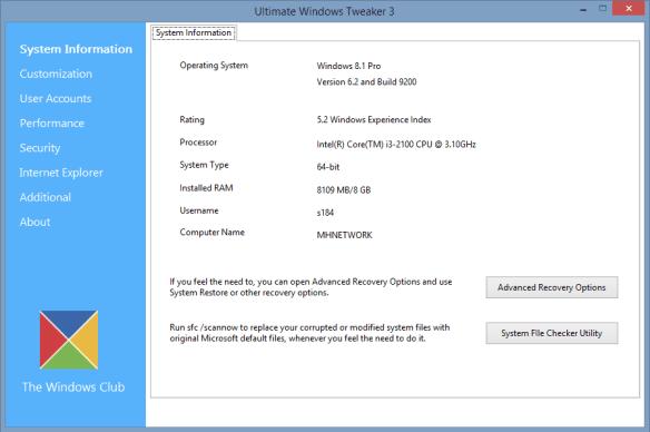 Ultimate Windows Tweaker 3 - system info
