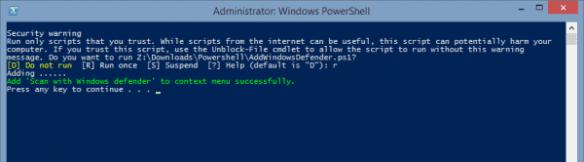 Adding Windows Defender to Context Menu