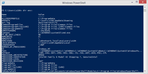 Windows PowerShell - dir env to list all environment variables
