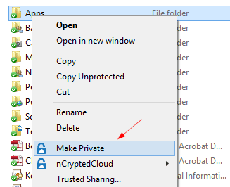 nCrypted Cloud - Context Menu