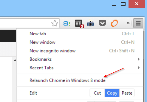 Launch Chrome in Windows 8 Mode