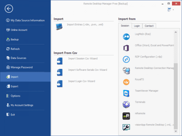 Remote Desktop Manager - Import