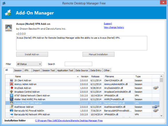 Remote Desktop Manager - add-on manager