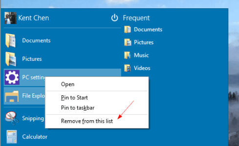 Windows 10 - Start Menu - Remove