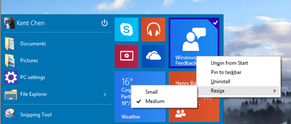 Windows 10 - Start Menu - Tiles