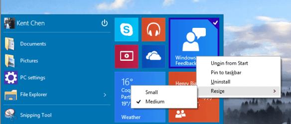 Windows 10 - Start Menu - Tiles