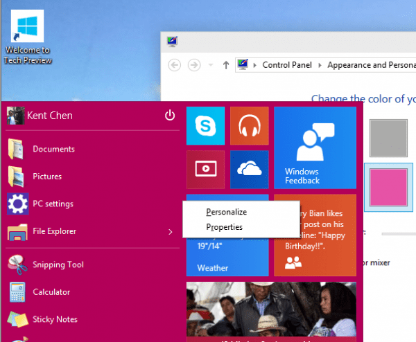 Windows 10 - Start Menu - color