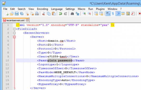 2014-11-02 21_11_17-_C__Users_Kent_AppData_Roaming_FileZilla_recentservers.xml - Notepad++