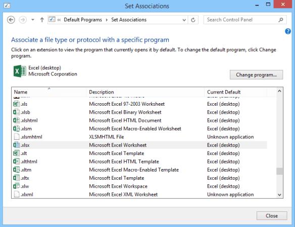 Associate File Type - control panel