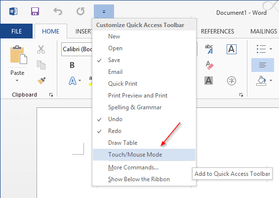 Office - add Touch Mode to Quick Access Bar