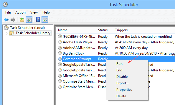 Task Scheduler - run a task
