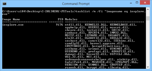 Command Prompt - tasklist