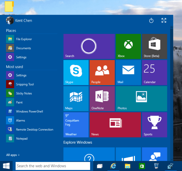 Windows 10 TP - Start Menu