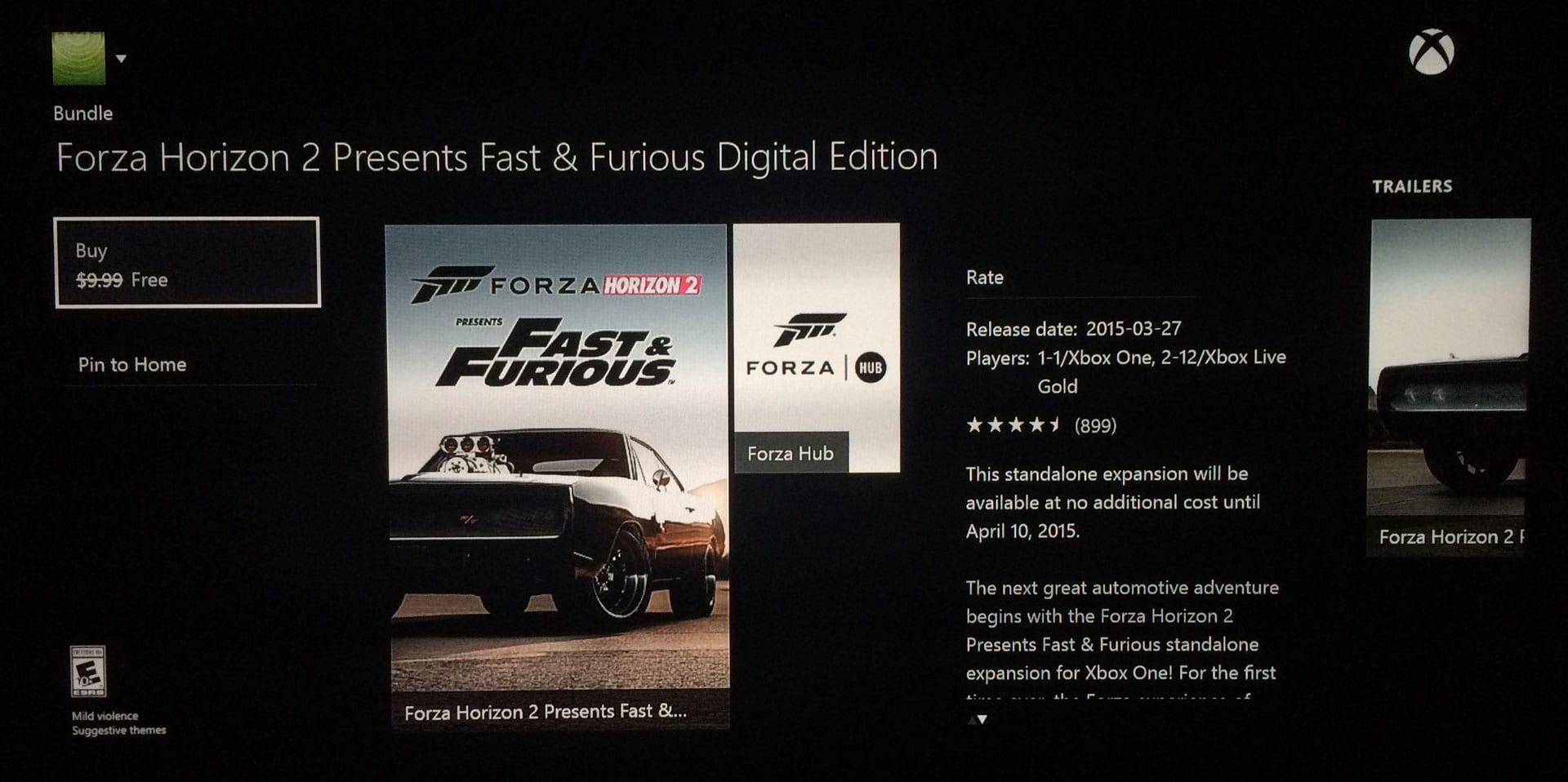 Xbox One/360 standalone Fast & Furious Forza Horizon 2 Game