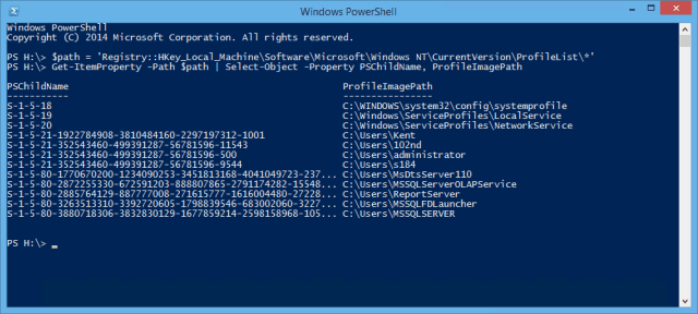 PowerShell - Get User Profile List