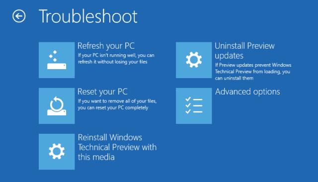 Windows 10 - Advanced Options - Troubleshoot