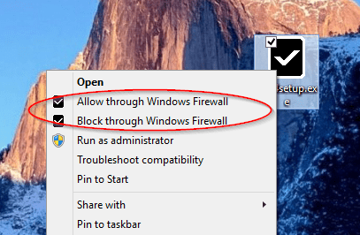 Windows Firewall Control - context menu