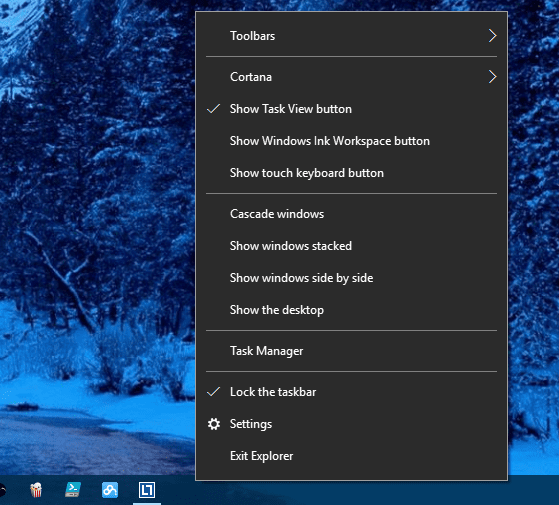 Windows 10 - hidden Exit Explorer menu