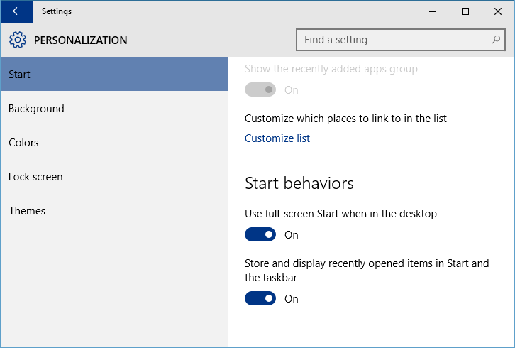 Settings - Personalization - Start