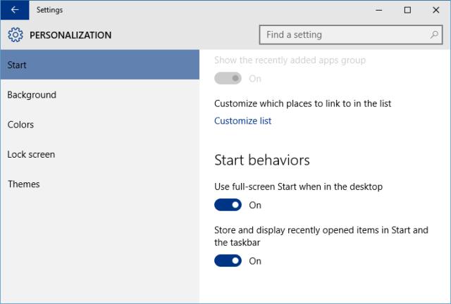 Settings - Personalization - Start