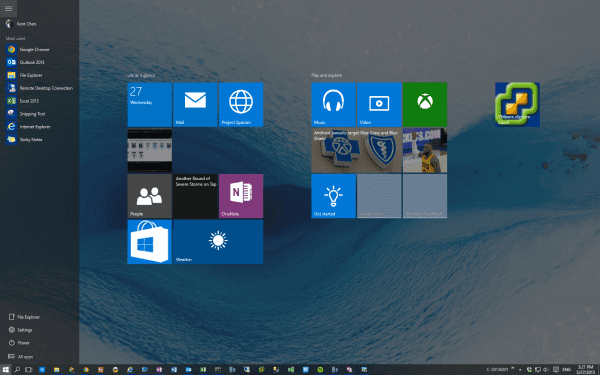 Start menu in full screen