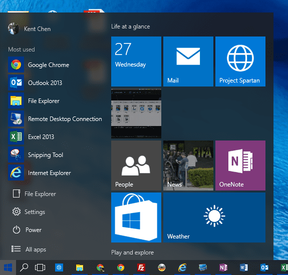 Start menu - resized