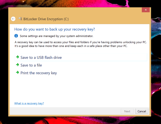 Turn on BitLocker - Save recovery key