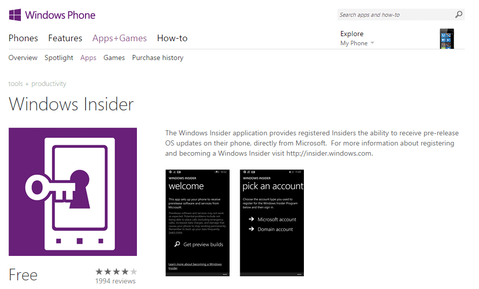 Windows Insider _ Windows Phone Apps+Games Store (United States) - 2015-05-06 15_38_26