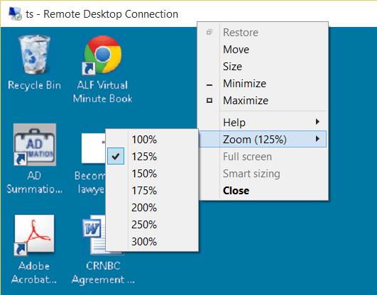 Citaten Zoon Win 10 : Zoom option in remote desktop protocol next of windows