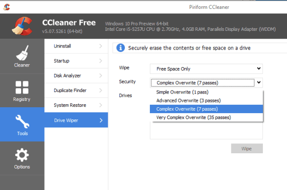 CCleaner Secure Wipe