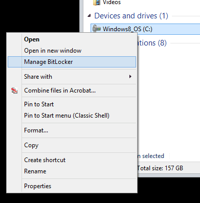 right-click drive - manage bitlocker