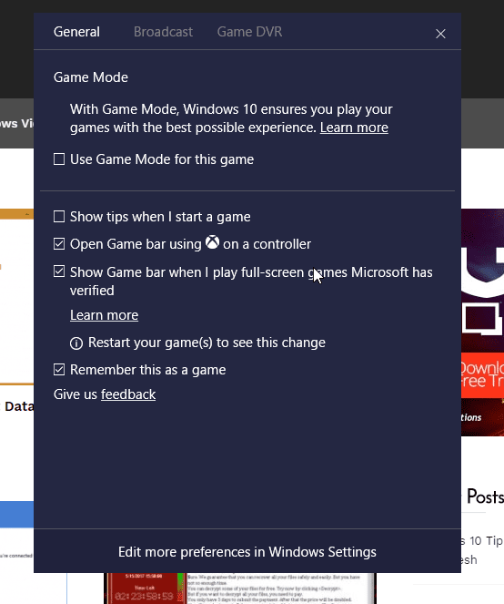 Windows 10 Game bar gear dialog box - Windows 10 Has A Screencast Recording Tool Built-In, and Here is How To Use it
