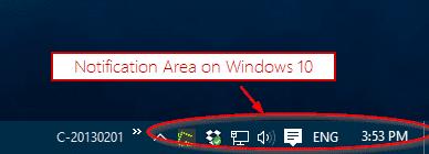 Windows 10 Notification Area