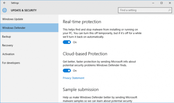 Windows Defender in Windows 10
