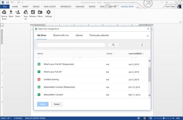 Word 2013 - Google Drive