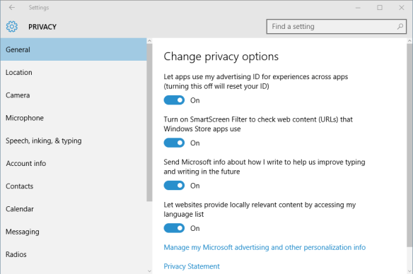 Settings - Privacy - General