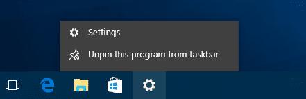Settings on Taskbar